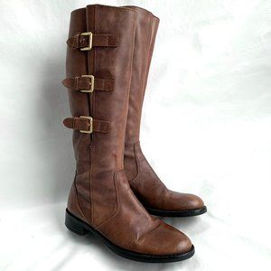 Ecco Hobart boots brown leather buckles tall shaft